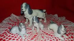 Antik Metzler&Ortloff Spániel porcelán kutyacsalád ritka