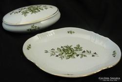 Zsolnay porcelán bonbonier és tálca - Erika mintás