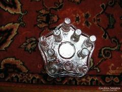 Ötszögletű üveg kristály melegentaró vagy gyertyatartó