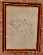 Szép régi Gustav Klimt akt ceruzarajz