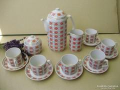 Hollóházi art deco ánizsvirág mintás kávéskészlet Hiánytalan