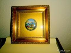 Antik kézi festett porc.kép- miniatúra -gyönyörű  keretben