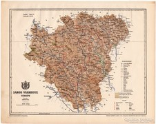 Sáros vármegye térkép 1899, Magyarország atlasz (a), megye