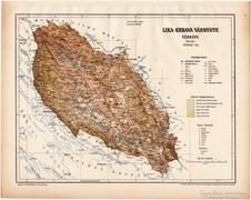 Lika - Krbava vármegye térkép 1899, Magyarország atlasz (a)