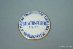 Herendi porcelán Balatonfüred 1971 emlékplakett
