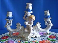 Gyönyörű barokk puttós 3 ágú porcelán gyertyatartó ARPO