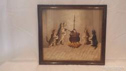 Cicák a kondérnál olaj-fa festmény , jelzett