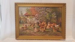 Tyúkudvar kakassal festmény