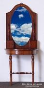 0M274 Antik intarziás tükrös pipere asztal