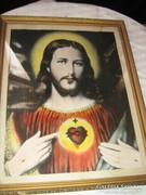 Gyönyörű üvegezett szép keretes szentkép Jézus