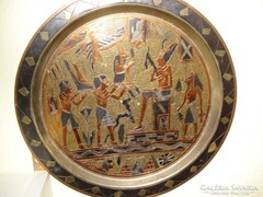 Egyiptomi falikép, tálca réz alapon. 28 cm kitűnő állapotban