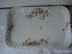 Szecessziós virágos porcelán kínáló tál  számozott