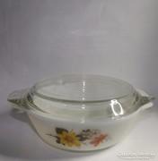 Kerek Angol virág mintás tejüveg jénai tál fedővel