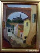 Lepizsán Fékics Zita: Boltíves utca c. festménye