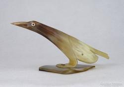 0M682 Szaruból faragott madár 17.5 cm