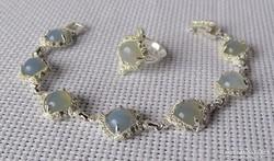 Meseszép ezüst szett opalittal és szikrázó kristályokkal