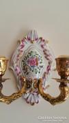 Herendi különlegesség! Porcelán+ezüst gyertyatartó kuriózum!