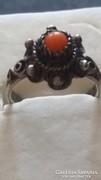 Antik korall ezüst gyűrű