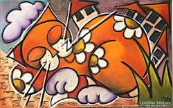 Vibók: MacskaZene 35x56 cm (plussz keret) pasztell kép