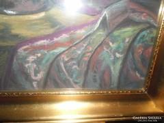 Antik orgonás festmény jelzett csodaszép