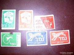 Régi izraeli gyufacímkék 6 db