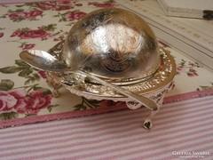 Fantasztikus ezüstözött vintage kaviártartó üveg betéttel
