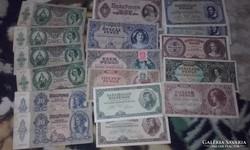 Pengők,17 db  kösztük ropogós szép,és  használt bankjegyek !