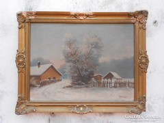 Tóvárosi: Tél a falun. Antik festmény.