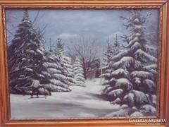 Téli táj.Eredeti antik festmény ,szép keretben.