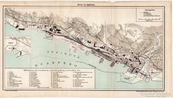 Fiume és kikötője térkép 1899, antik, eredeti, Pallas