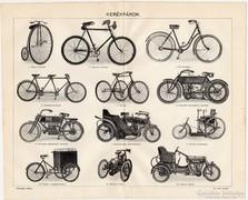 Kerékpárok, Révai nyomat 1916, eredeti, kerékpár, bicikli
