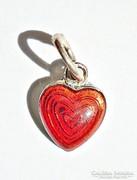 Szív alakú tűzzománcos ezüst medál