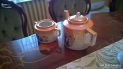Zsolnay eozin mázas teás kiöntő és cukortartó