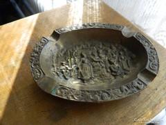 Barokk réz jelenetes hamuzó - hamutál
