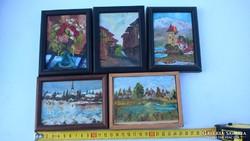 Eladó a képeken 5 darab pici kis festmény, melyek szignózott