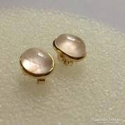 Rózsakvarc fülbevaló aranyozott ezüst foglalatban