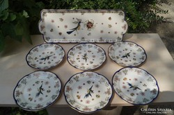 Zsolnay Főnix madaras süteményes készlet