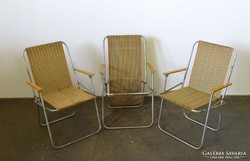 0I522 Retro alumínium kemping szék 3 darab