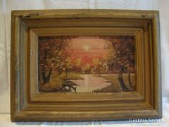 Jelzett antik olaj-vászon tájkép festmény