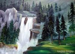 50 x 70 -Olajfestmény,-Vízesés