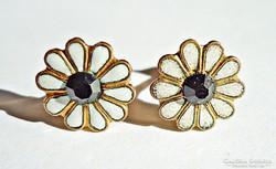 Aranyozott tűzzománcos köves virágos ezüst fülbevaló