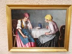 Szász István- Beszélgetők   Eredeti festmény garanciával!