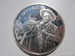 Mexikó Pancho Villa 2 uncia ezüst RITKA emlékérme 0,999AG