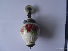 Ritka régi rózsás majolika csigás lámpa súly