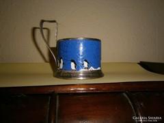 Jelzett Szovjet zománc díszítéssel pohártartó pohárral