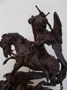 18sz. Vas Sárkányölő SzentGyörgy szobor fatalpon.Ötvösmunka.