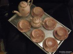 Zsolnay: Rózsaszínű mokkás készlet