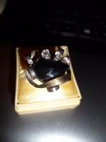 Ezüst gyűrű / fazettált ónix,arany (magnolia)