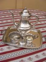 Álomszép, antik, vastagon ezüstözött neobarokk kávés készlet