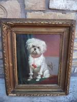Kutya portré olaj-vászon 19.sz eleje 55*37 cm